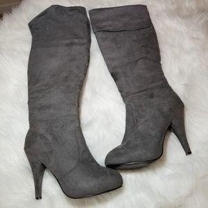 Shoes - Dark Gray Suede Heel Over the Knee Boots